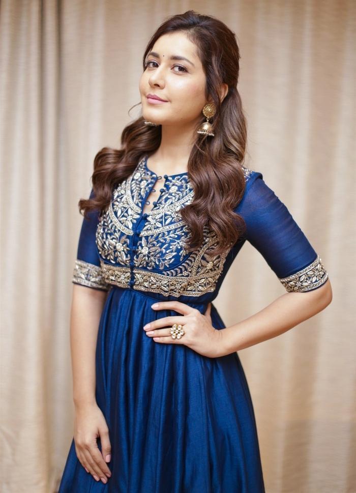 Beautiful Indian Girl Rashi Khanna Photos In Blue Dress