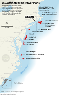 U.S. Offshore Wind Power Plans (Credit: Paul Horn/Inside Climate News) Click to Enlarge.