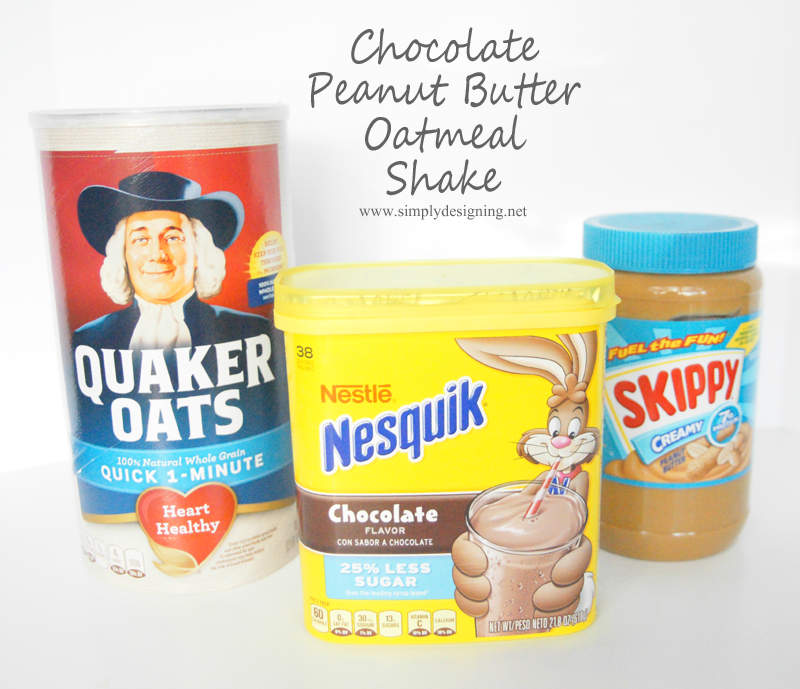 This chocolate and oatmeal peanut butter smoothie is the perfect quick and healthy breakfast for busy school mornings!