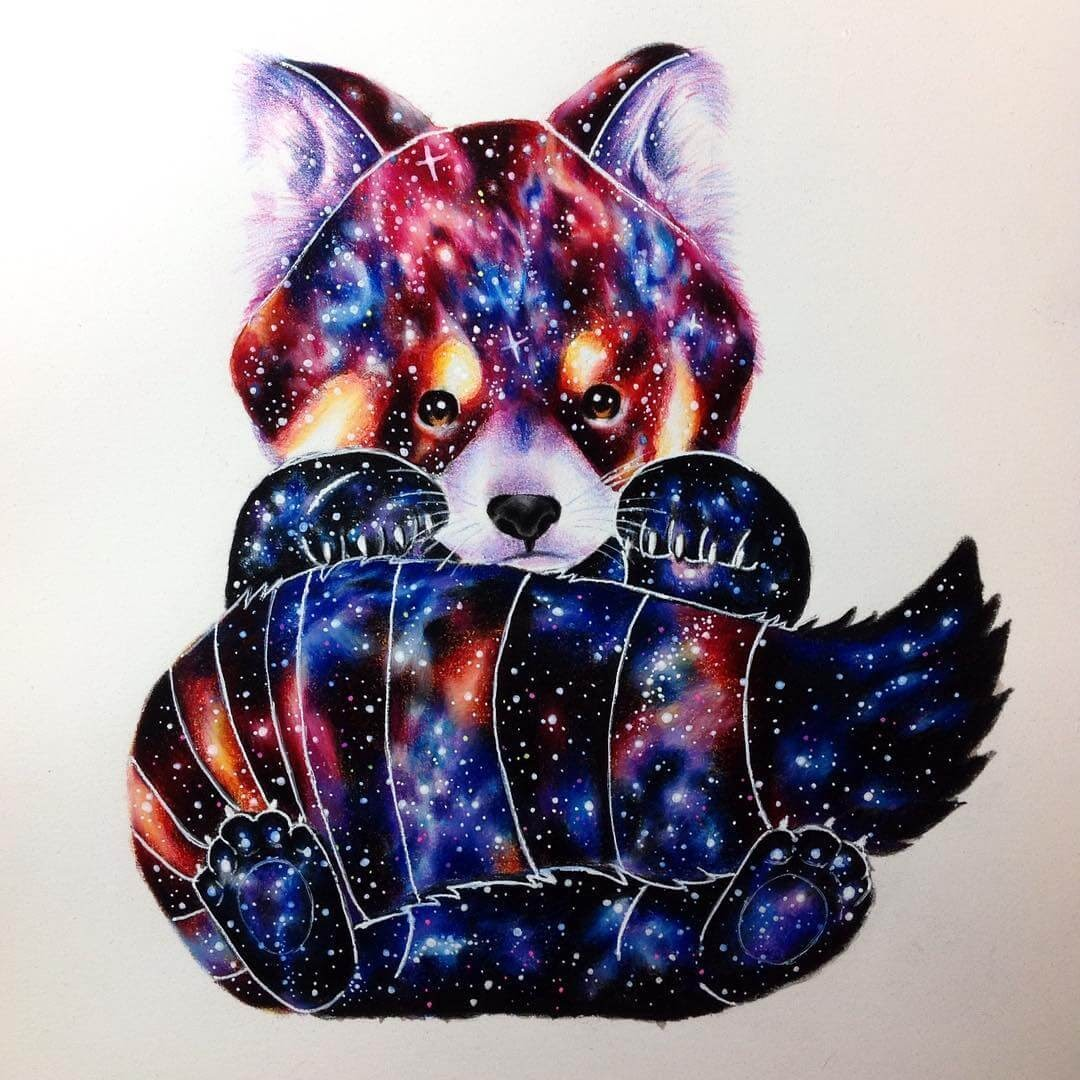 04-Red-panda-Estefani-Barbosa-Fantasy-Animals-in-Pencil-Drawings-www-designstack-co