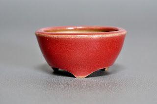 赤釉丸盆栽鉢(Red glaze bonsai pot)h2150