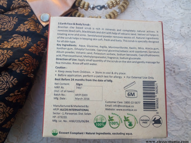 Ecotique 5 Earth Face & Body Scrub Packaging,Price, Online availability