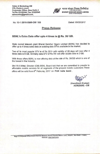 BSNL notice about 36rupees per 1GB 3G data