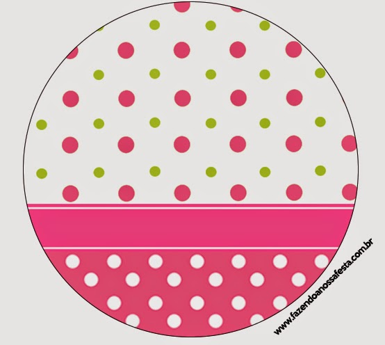 Pink, Green and White Polka Dots Toppers or Free Printable Candy Bar Labels.