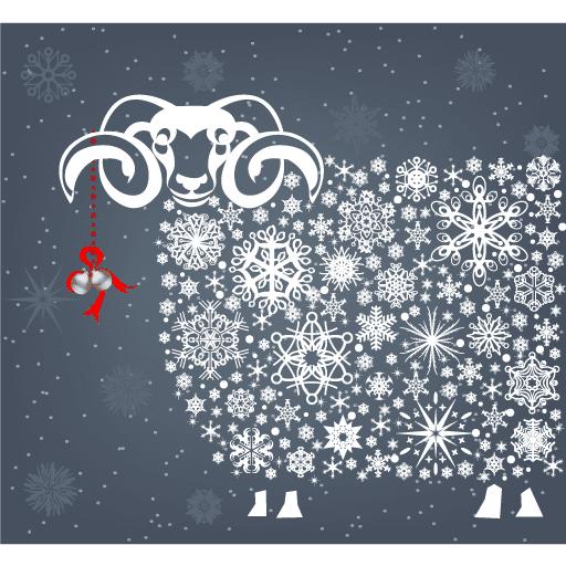 Carnero para calendario y Año Nuevo 2015 - vector