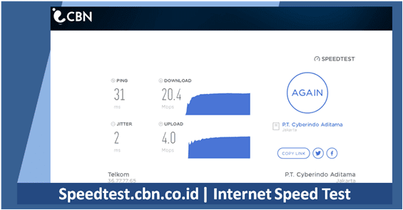 mengukur kecepatan internet menggunakan test speed cbn