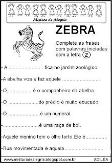 Fichas leituras e escritas com Z