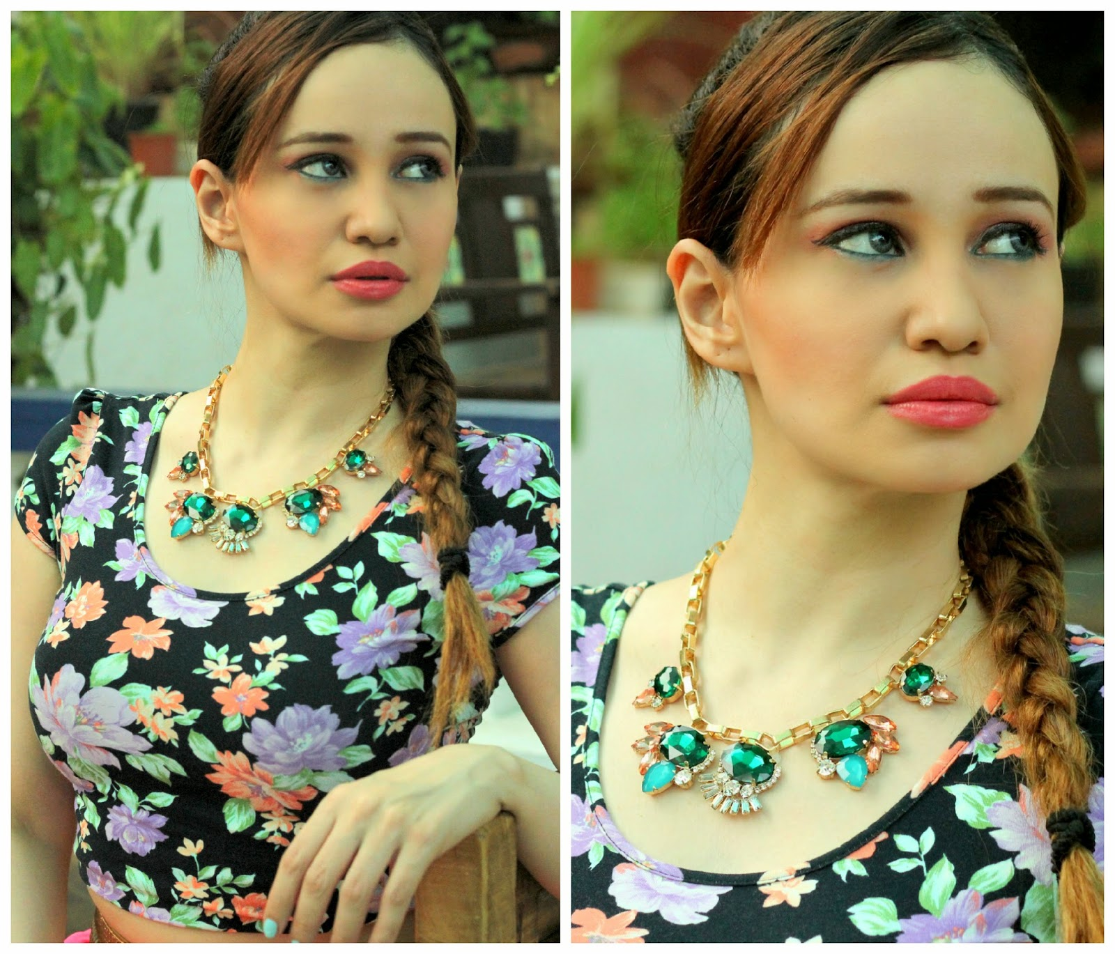 Floral Crop Top & Multi-Stone Necklace