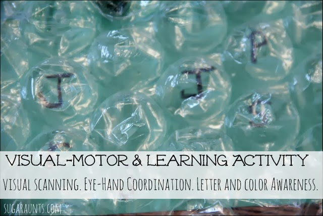 This visual motor activity is a great way to work on visual scanning, eye-hand coordination, and letter and color awareness.