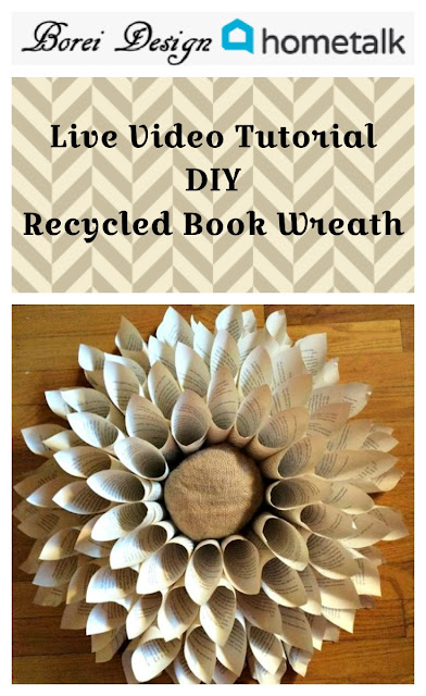 Live craft video tutorial from Borei Design on Hometalk on how to make a recycled book page wreath.