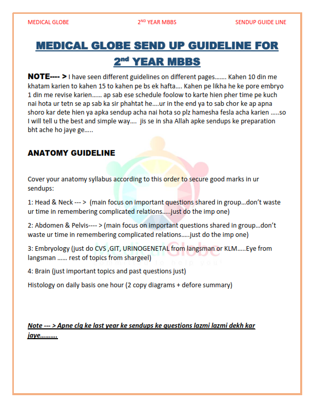 2ND YEAR MBBS SENDUP GUIDELINE BY MEDICAL GLOBE - SEEN