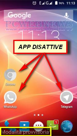 modalita provvisoria su device Android