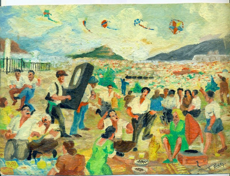 Koulma, Flying kites on Clean Monday. Painting by Notis Xanthi