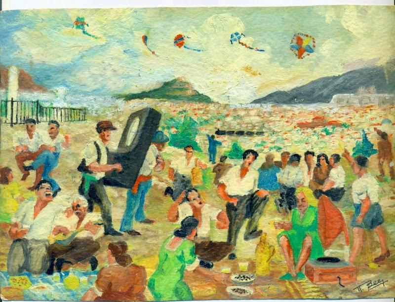 Koulma, Flying kites on Clean Monday. Painting by Notis Xanthi