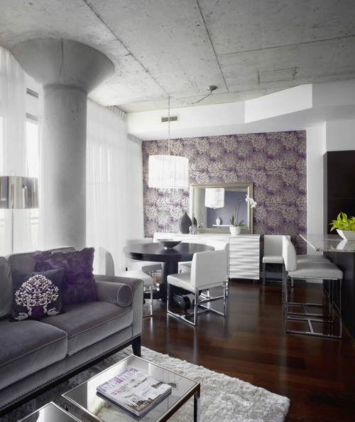 Purple And Grey Living Room