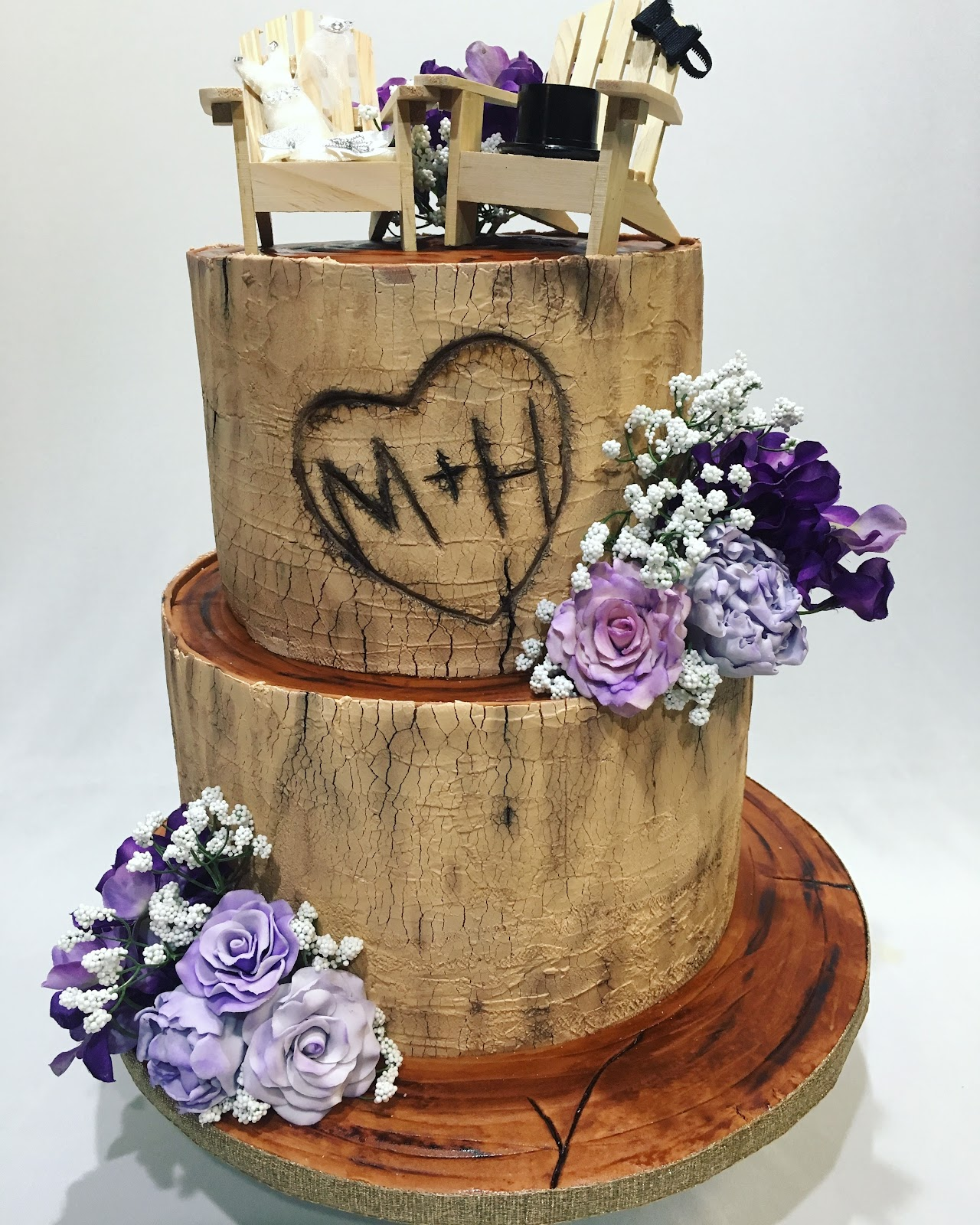 MyMoniCakes: Birch Wood Tree Wedding Cake With Fondant Flowers