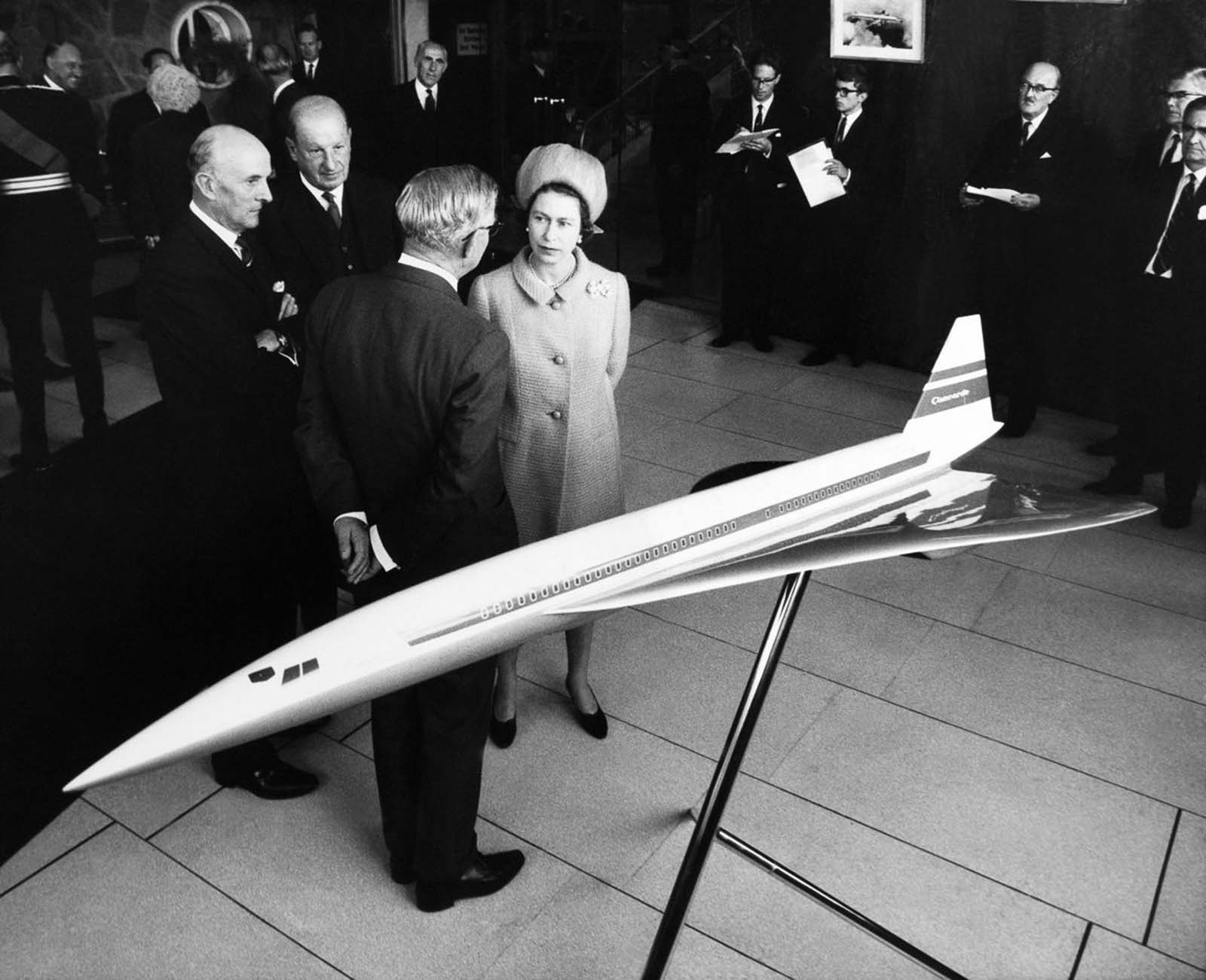 Queen Elizabeth II visits the factory where the Concorde is being developed. 1966.