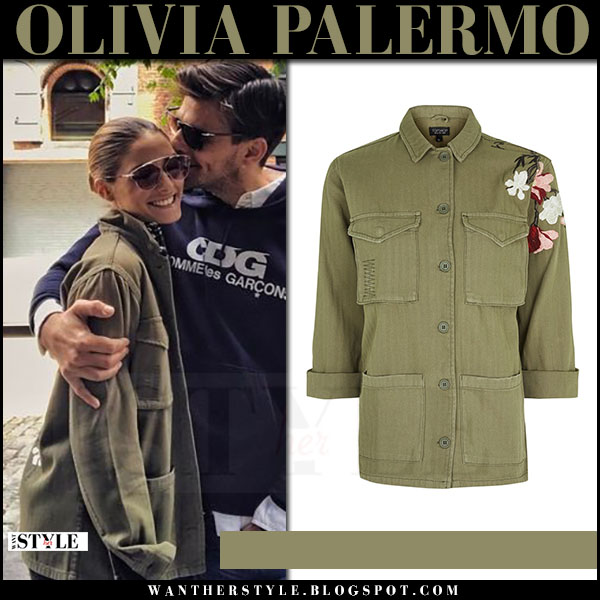 Olivia Palermo in green canvas topshop jacket and Dior so real sunglasses what she wore may 14 2017