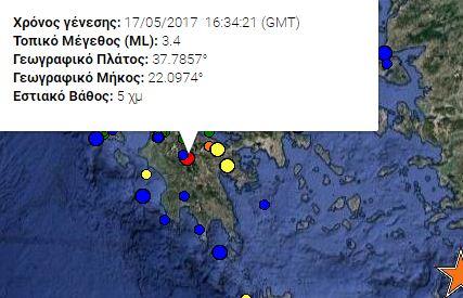 σεισμός 3,4 Ρίχτερ ταρακούνησε την Πελοπόννησο