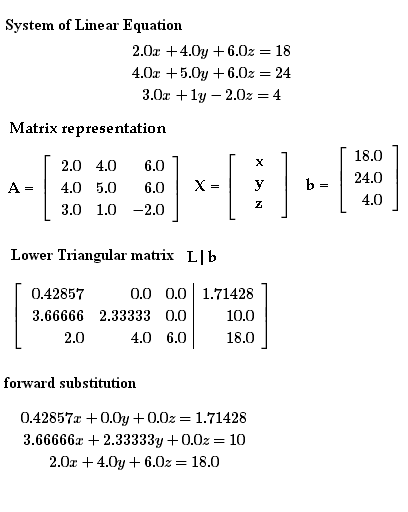 matrix forward and back substitution