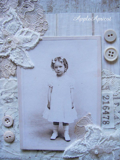 shabby white mixed media collage by AppleApricot (detail)