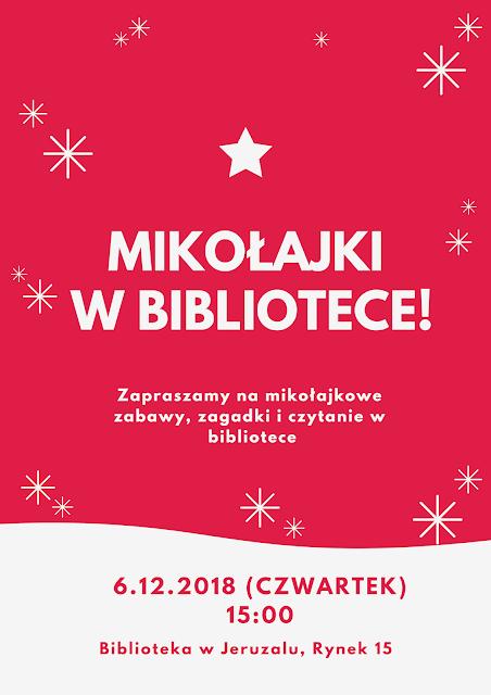 Plakat informujący o zajęciach mikołajkowych w bibliotece 6 grudnia o godzinie 15