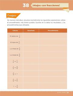 Apoyo Primaria Desafíos Matemáticos 5to. Grado Bloque III Lección 38 ¡Atajos con fracciones!