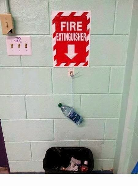 Funny Fire Extinguisher Water Bottle Sign Joke Picture