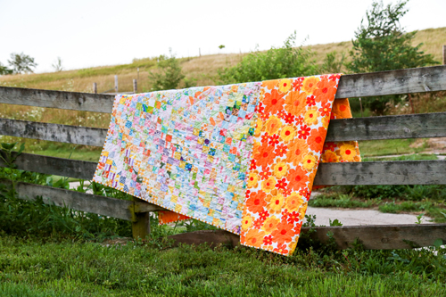 Vintage Sheet Scrappy Trip Quilt - In Color Order