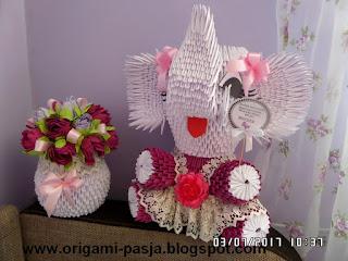 słoń, na szczęście, z papieru, origami, biały, różowy, wazon, na roczek, urodziny, dla dziecka, dla dziewczynki
