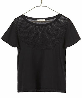 Mesh Cropped Tee in Black
