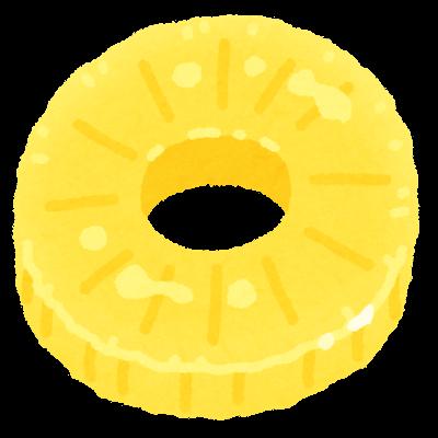 輪切りのパイナップルのイラスト