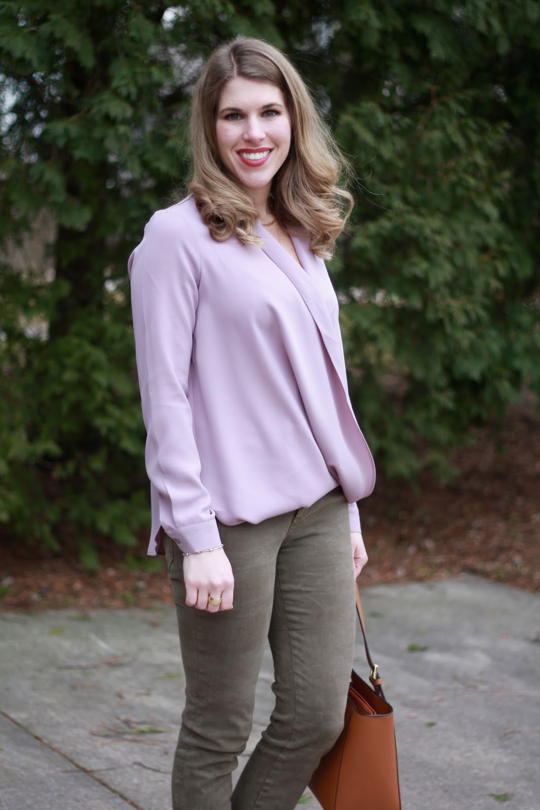mauve crossover blouse, camo pants, blush lace up flats, Tory Burch tote