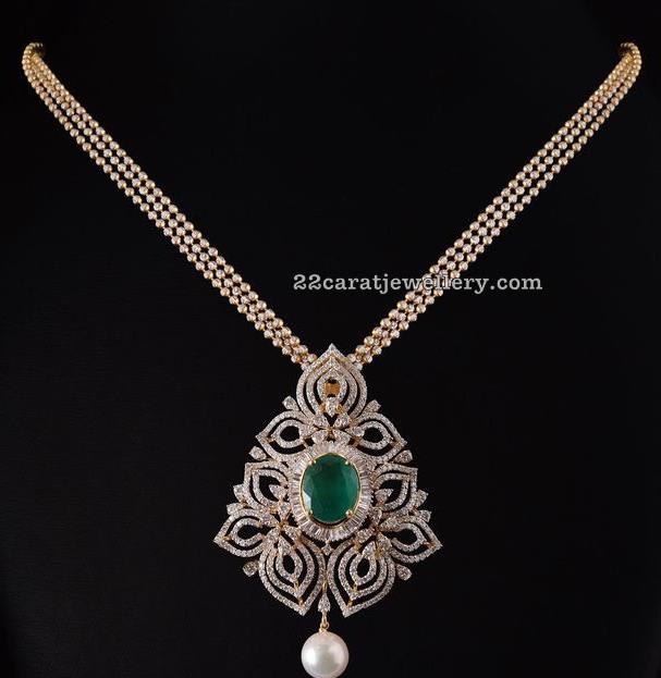 Diamond Pendant with Swarovski Beads Set