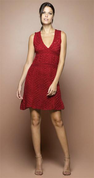 vestido crochê vermelho Vanessa Montoro