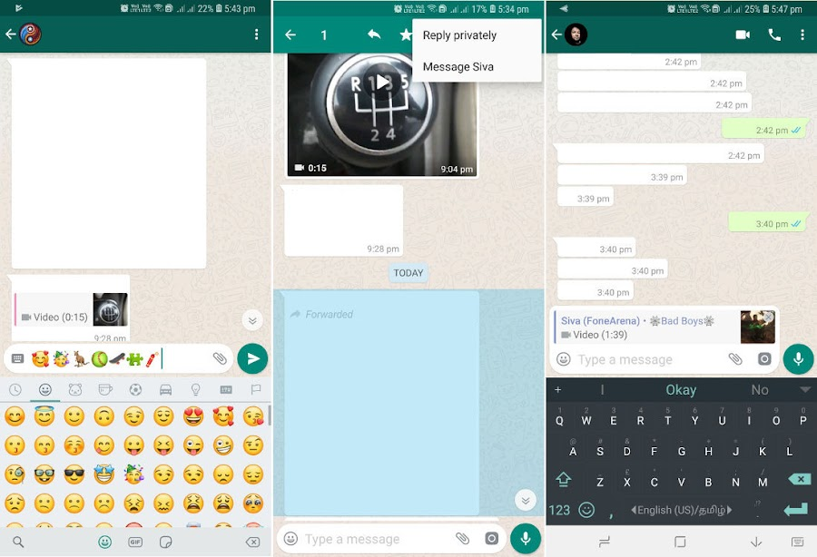 WhatsApp beta for Android gets 'Reply Privately' and Unicode 11 Emojis