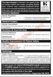 Latest Jobs In The Indus Hospital Karachi