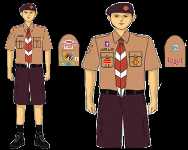 kelengkapan pakaian seragam harian pramuka penggalang putra