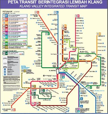 peta laluan MRT, LRT, Monorel, KTM