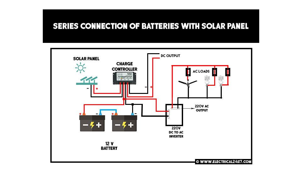 series and parallel connection of batteries with solar panel