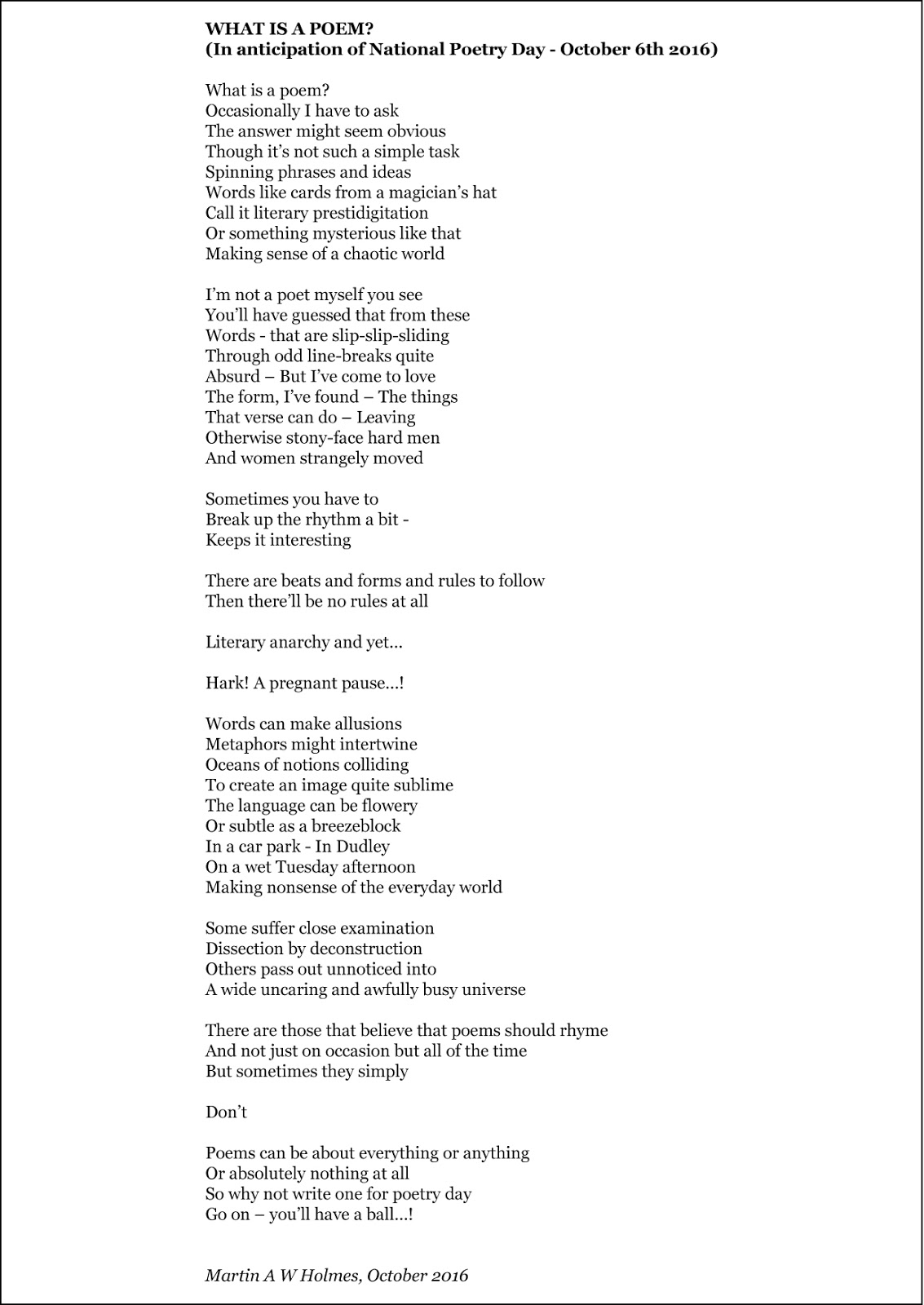 osoanon nimuss poem absolutely nothing 'absolutely nothing' is a poem with four verses the first verse is about the boy's younger and most happy time in life the second is about his transition into the teenage years whilst the third he is a teenager.
