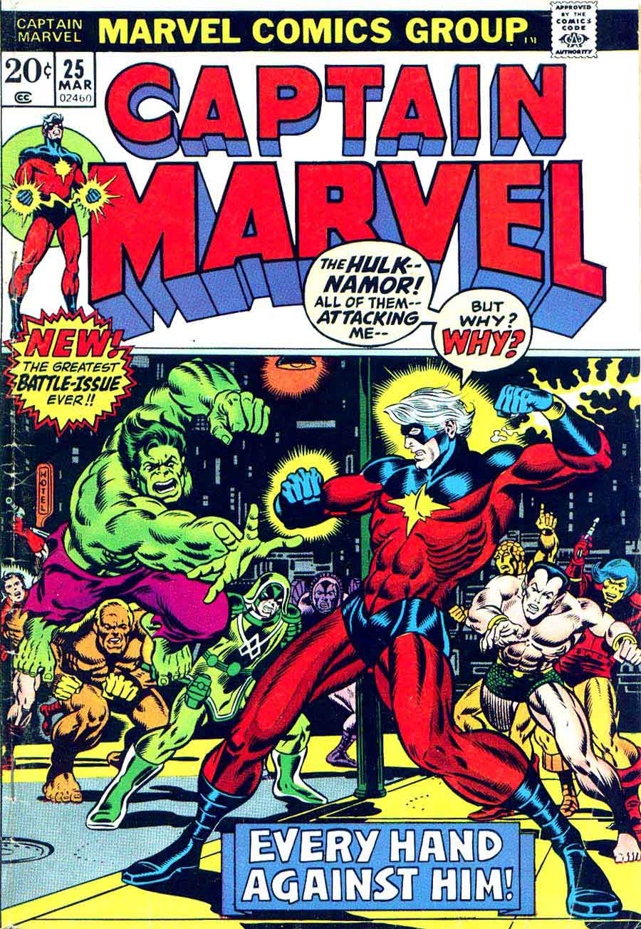Captain Marvel #25 marvel 1970s bronze age comic book cover art by Jim Starlin