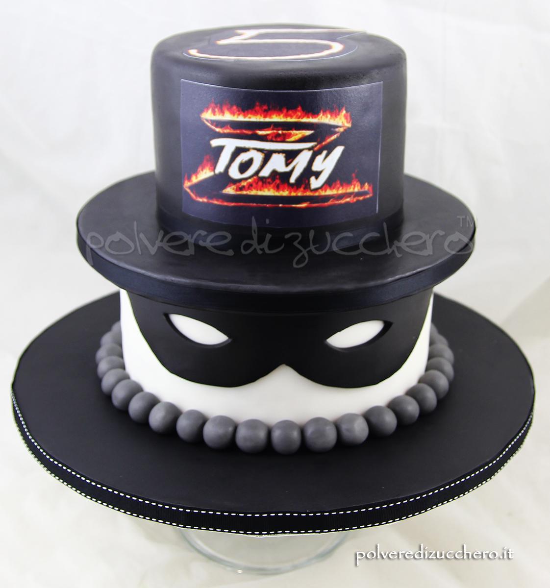 torta decorata pasta di zucchero cake design zorro compleanno bambino torta a a piani polvere di zucchero