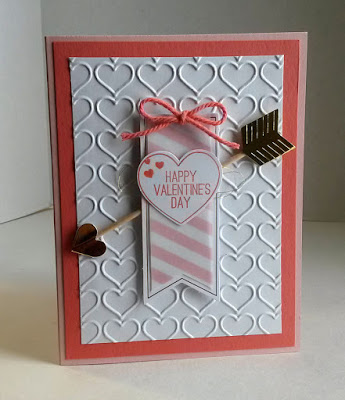 Valentine card with golden arrow