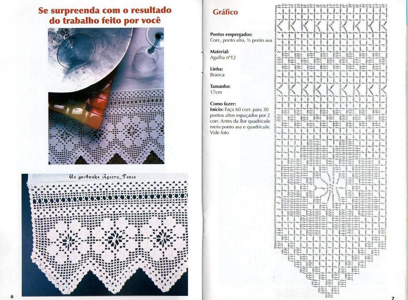 Crochet knitting handicraft many edges filet for Cortinas de gancho para cocina