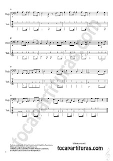 2  Himno de la República Dominicana Tablatura y Partitura del Punteo de Bajo Eléctrico Sheet Music for Electric Bass Tablature Tabs Music Score