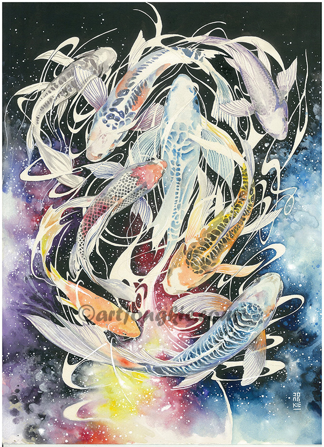 07-Journey-to-the-Milky-Way-Luqman Reza jongkie-Painting-Fantasy-worlds-with-Flowing-Watercolor-Animals-www-designstack-co