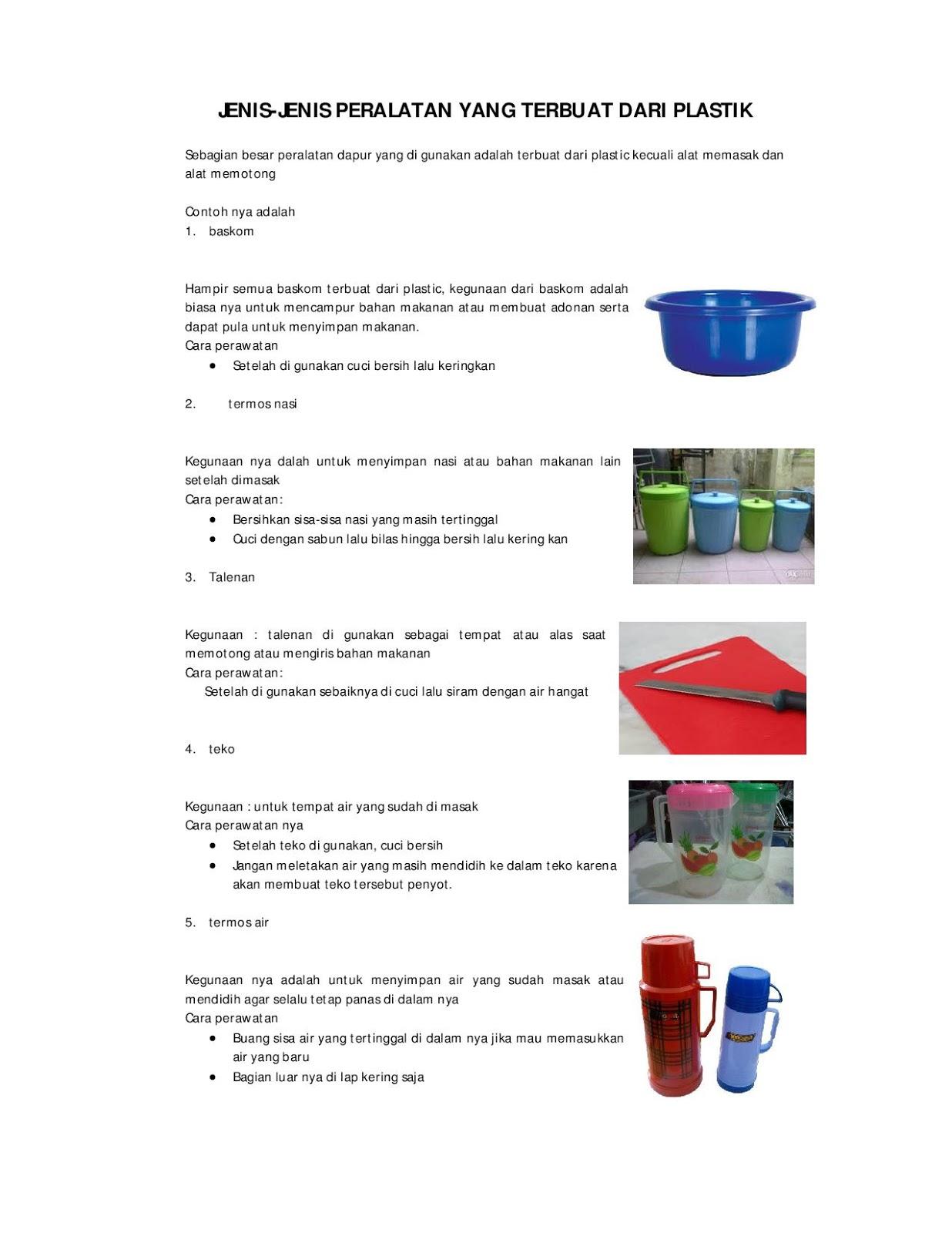 Jenis Peralatan Dapur Berbahan Plastik Kaca Kayu
