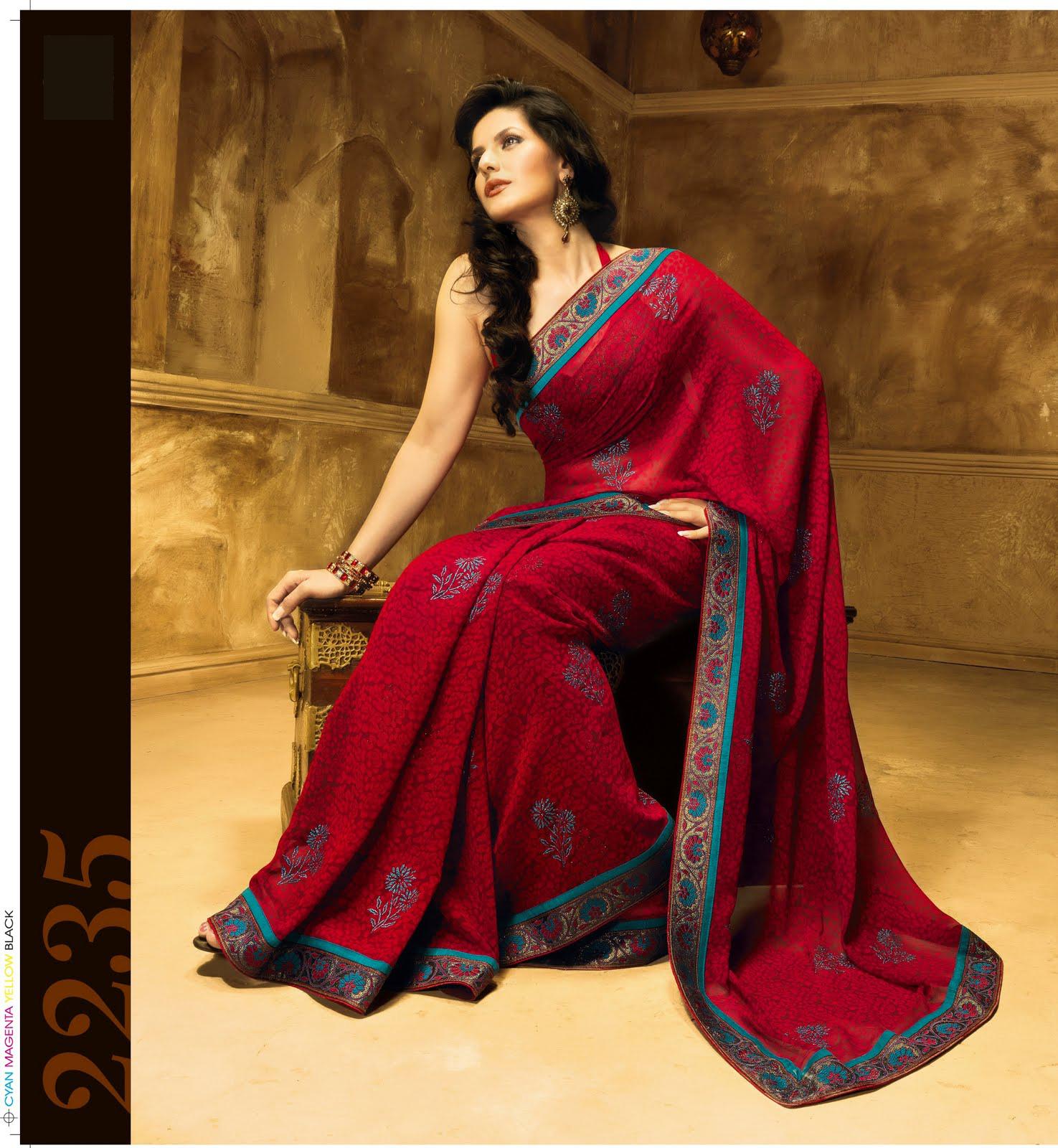 Hot Zarine Khan Showing Hot Figure In Traditional Dress