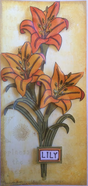 Lily Easter Card - created using PaperArtsy Stamps, Gelatos and Copic Chio Markers